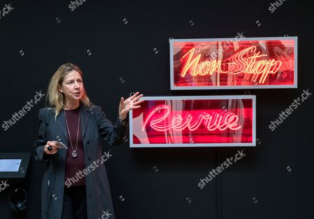 Stock Picture of Iwona Blazwick, Director, Whitechapel Gallery in front of 'Revue' by Douglas Gordon
