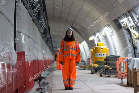 Chantal Joffe on the Crossrail platform where her work, 'A Sunday Afternoon in Whitechapel' will be installed.