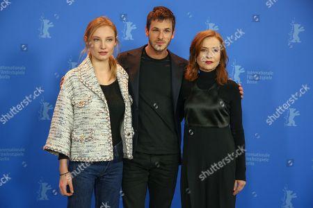 (L-R) Julia Roy, Gaspard Ullilel and Isabelle Huppert