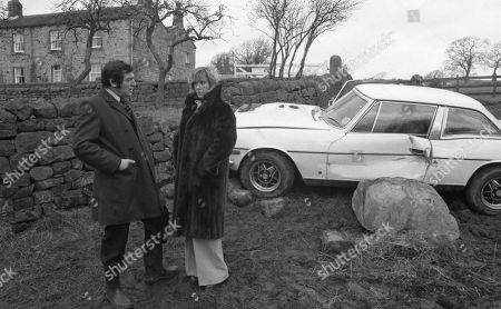 Ep 0303 Monday 8th March 1976  The Sugdens' dinner is interrupted when a car crashes into the wall at Emmerdale Farm - With Heather Bannerman, as played by Wanda Ventham ; and Dr Evans, as played by Peter Maycock.