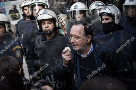 Stock Picture of Panagiotis Lafazanis a greek politician seen giving a speech during a demonstration against property foreclosure auctions.