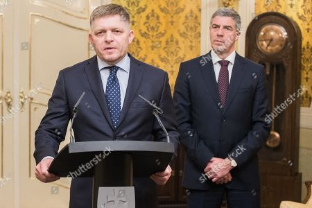 Chairman of the MOST-HID party Bela Bugar (R) and prime minister and chairman of the SMER party Robert Fico during the press conference where Robert Fico offered his resignation, in Bratislava, Slovakia, 14 March 2018. Fico offered his resignation after his coalition partner, the Most-Hid (Bridge) group, demanded his resignation following mass street protests after the murder of journalist Jan Kuciak and his fiance Martina Kusnirova.