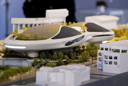 """An architectural model of the Lucas Museum of Narrative Art iconic building designed by Ma Yansong of MAD Architects is displayed in Los Angeles . The institution, scheduled to open in 2021, is envisioned as not just a repository for """"Star Wars"""" memorabilia but a wide-ranging museum representing all forms of visual storytelling from paintings and drawings to comic strips and digital and traditional films"""