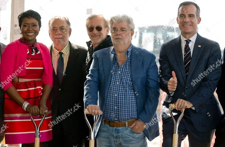 """Mellody Hobson, Francis Ford Coppola, Steven Spielberg, George Lucas, Eric Garcetti. Lucas Museum of Narrative Art Co-Founder, Mellody Hobson, with filmmakers Francis Ford Coppola, Steven Spielberg, and her husband, George Lucas, with Los Angeles Mayor Eric Garcetti attend the groundbreaking ceremony of the Lucas Museum of Narrative Art in Los Angeles . The institution, scheduled to open in 2021, is envisioned as not just a repository for """"Star Wars"""" memorabilia but a wide-ranging museum representing all forms of visual storytelling from paintings and drawings to comic strips and digital and traditional films"""