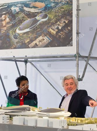 """Mellody Hobson, Angelo Garcia. Mellody Hobson, Co-Founder, Lucas Museum of Narrative Art looks at an architectural model of the museum with Angelo Garcia, president of Lucas Real Estate Holdings and vice president of the museum, right, before breaking ground in Los Angeles . The institution, scheduled to open in 2021, is envisioned as not just a repository for George Lucas' """"Star Wars"""" memorabilia but a wide-ranging museum representing all forms of visual storytelling from paintings and drawings to comic strips and digital and traditional films"""