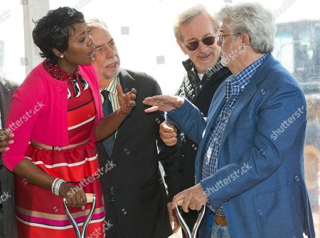 """Mellody Hobson, Francis Ford Coppola, Steven Spielberg, George Lucas. Lucas Museum of Narrative Art Co-Founder, Mellody Hobson, left, with filmmakers, Francis Ford Coppola, Steven Spielberg, and her husband, George Lucas, attend the groundbreaking ceremony of the Lucas Museum of Narrative Art in Los Angeles . The institution, scheduled to open in 2021, is envisioned as not just a repository for """"Star Wars"""" memorabilia but a wide-ranging museum representing all forms of visual storytelling from paintings and drawings to comic strips and digital and traditional films"""