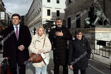 Advocates of the revisable permanent prison Juan Carlos Quer (L), Juan Jose Cortes (2R), fathers of murdered minors Diana Quer and Mari Luz Cortes, Jessica Sanchez (2R), aunt of missing child Yeremi Vargas, and Blanca Estrella Ruiz (R) President of the Association Clara Campoamor, arrive to the Lower House to attend the Parliamentary session held to derogate the revisable permanent prison custodial sentence in Madrid, Spain, 15 March 2018. This custodial sentence was passed in the Lower House, only backed by the People's Party (PP), in March 2015, and allows judges to impose a revisable life sentence to cases of extreme nastiness such as murders. Now, after Basque Nationalist Party (PNV) proposed to put it down, several parties support the derogation of this life sentence with the exception of PP, UPN and Coalicion Canaria who have shown their total support. According to the parties that support eliminating this type of sentence, prisoners should have a chance to reintegrate society as the Spanish Constitution establishes.