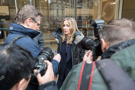 Michelle Young, the former wife of the late property tycoon Scot Young takes part in photo call at offices of her Bankruptcy Trustee, FRP Advisory, in relation to her divorce settlement.