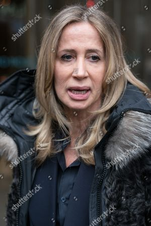 Stock Image of Michelle Young, the former wife of the late property tycoon Scot Young takes part in photo call at offices of her Bankruptcy Trustee, FRP Advisory, in relation to her divorce settlement.