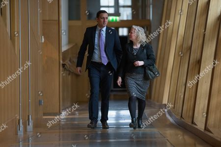 Scottish Parliament First Minister's Questions - Anas Sarwar and Claire Baker make their way to the Debating Chamber.