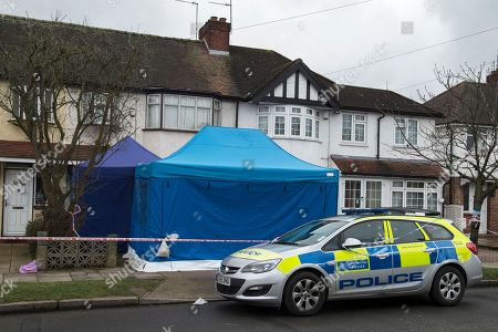 A police car outside the scene of a property where the body of Russian businessman Nikolai Glushkov was found in New Malden, South London, Britain, 16 March 2018. British counter terrorism police have been investigating the death of the former director of Aeroflot who was a close friend of oligarch Boris Berezovsky.