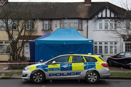 A police officer outside the scene of a property where the body of Russian businessman Nikolai Glushkov was found in New Malden, South London, Britain, 16 March 2018. British counter terrorism police have been investigating the death of the former director of Aeroflot who was a close friend of oligarch Boris Berezovsky.