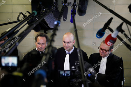 (L-R) Lawyers of Laura Smet, Johnny Hallyday's daughter, Pierre-Olivier Sur, Emmanuel Ravanas and Herve Temime speak to the media after a hearing at the Tribunal de Grande Instance in Nanterre, near Paris, France, 15 March 2018. The two elder children of the late French rock legend, David Hallyday and Laura Smet contest their father's latest will and claim a right to hear Johnny Hallyday's posthumous album, seeking a legal way to freeze their father's estate.