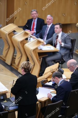 Stock Image of Offensive Behaviour at Football and Threatening Communications (Repeal) (Scotland) Bill - Richard Leonard, Leader of the Scottish Labour Party, James Kelly, who introduced this Member's Bill on the 21st of June 2017, Daniel Johnson, Annabelle Ewing, Minister for Community Safety and Legal Affairs, Michael Matheson, Cabinet Secretary for Justice, and John Swinney, Deputy First Minister and Cabinet Secretary for Education and Skills