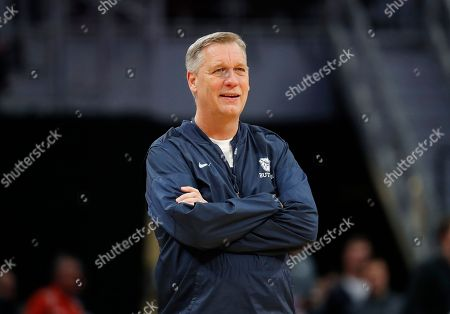 Butler assistant coach Jeff Meyer watches during practice for an NCAA college basketball first round game in Detroit