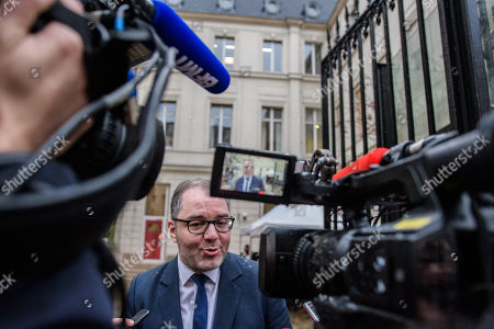 French Socialist Party's, PS, spokesman, Rachid Temal speaks to the press after Francois Hollande (unseen) took part at a vote for the election of a new PS First Secretary in Paris, France, 15 March 2018. Hollande's party faces major difficulties after being defeated at the presidential and legislatives elections in 2017.