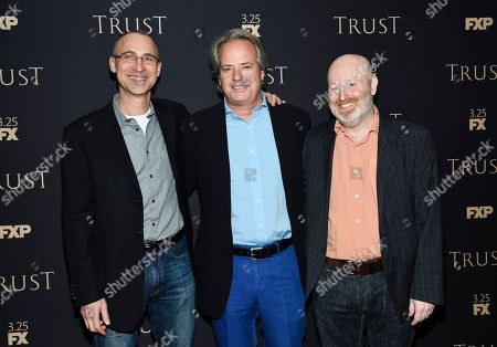 Joel Fields, Graham Yost, Joe Weisberg. Executive producer and writer Joel Fields, left, executive producer Graham Yost and creator, executive producer and writer Joe Weisberg attend FX Networks' annual all-star party at SVA Theatre, in New York