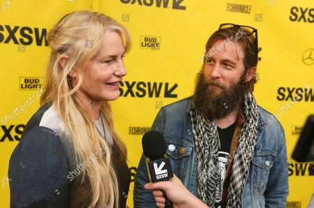 """Daryl Hannah, Adam CK Vollick. Director Daryl Hannah, left, and cinematographer Adam CK Vollick arrive for the world premiere of their film """"Paradox"""" during the South by Southwest Film Festival at the Paramount Theatre, in Austin, Texas"""