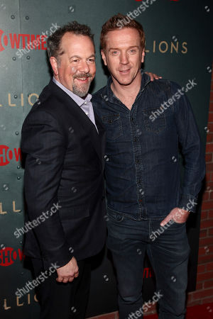 """David Costabile, Damian Lewis. David Costabile, left, and Damian Lewis, right, attend Showtime's """"Billions"""" season 3 premiere party at Mr. Purple, in New York"""