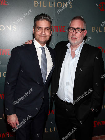 "David Levien, Brian Koppelman. David Levien, left, and Brian Koppelman, right, attend Showtime's ""Billions"" season 3 premiere party at Mr. Purple, in New York"