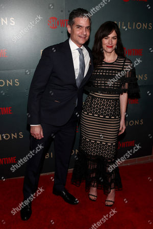 "David Levien, Maggie Siff. David Levien, left, and Maggie Siff, right, attend Showtime's ""Billions"" season 3 premiere party at Mr. Purple, in New York"