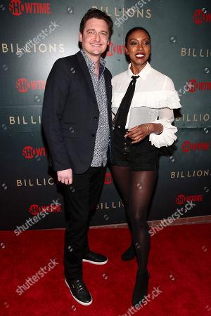 "Toby Leonard Moore, Condola Rashad. Toby Leonard Moore, left, and Condola Rashad, right, attend Showtime's ""Billions"" season 3 premiere party at Mr. Purple, in New York"