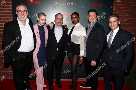 "Brian Koppelman, Asia Kate Dillon, Paul Giamatti, Condola Rashad, Toby Leonard Moore, David Levien. Brian Koppelman, from left, Asia Kate Dillon, Paul Giamatti, Condola Rashad, Toby Leonard Moore and David Levien attend Showtime's ""Billions"" season 3 premiere party at Mr. Purple, in New York"