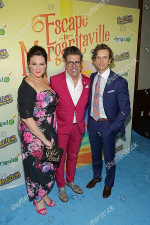 "Lisa Howard, Eric Petersen, Paul Alexander Nolan. Actors Lisa Howard, from left, Eric Petersen and Paul Alexander Nolan attend the after party following the Broadway opening night of ""Escape to Margaritaville"" at Pier Sixty at Chelsea Piers, in New York"