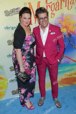 """Lisa Howard, Eric Petersen. Actors Lisa Howard, left, and Eric Petersen attend the after party following the Broadway opening night of """"Escape to Margaritaville"""" at Pier Sixty at Chelsea Piers, in New York"""