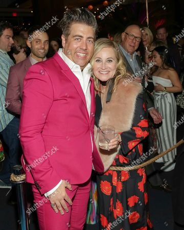 """Eric Petersen, Maureen McCormick. Actors Eric Petersen, left, and Maureen McCormick attend the after party following the Broadway opening night of """"Escape to Margaritaville"""" at Pier Sixty at Chelsea Piers, in New York"""