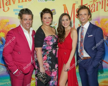 "Eric Petersen, Lisa Howard, Alison Luff, Paul Alexander Nolan. Actors Eric Petersen, from left, Lisa Howard, Alison Luff and Paul Alexander Nolan attend the after party following the Broadway opening night of ""Escape to Margaritaville"" at Pier Sixty at Chelsea Piers, in New York"