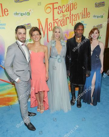 "Brett Thiele, Tessa Alves, Sara Andreas, Andre Ward, Marjorie Failoni. Actors Brett Thiele, from left, Tessa Alves, Sara Andreas, Andre Ward and Marjorie Failoni attend the after party following the Broadway opening night of ""Escape to Margaritaville"" at Pier Sixty at Chelsea Piers, in New York"