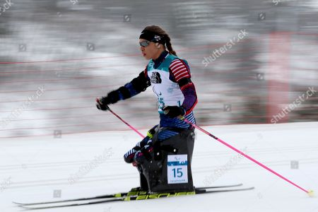 Stock Image of Oksana Masters of United States on her way to a silver medal in the Biathlon Women's 12.5km Sitting event during the 2018 Winter Paralympics at the Alpensia Biathlon Centre in Pyeongchang, South Korea