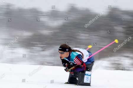 Oksana Masters of United States on her way to a silver medal in the Biathlon Women's 12.5km Sitting event during the 2018 Winter Paralympics at the Alpensia Biathlon Centre in Pyeongchang, South Korea