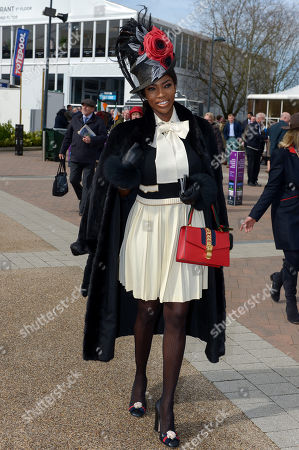 Model Lystra Adams arrives in the grounds