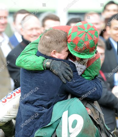 Cheltenham Festival Day 4 Cheltenham Racecourse The Random Health County Handicap Hurdle Race Trainer Dan Skelton is hugged by brother Harry Skelton after Mohaayed ridden by Bridget Andrews had won.