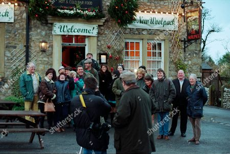 Stock Picture of Ep 2454 Wednesday 9th December 1998  The villagers gather for the grand re-opening of The Woolpack, but Seth's speech goes slightly awry when he suggests it would have been nicer had Terry been around - and that he still pines for the days of Amos Brearley and Henry Wilks - With Seth Armstrong, as played by Stan Richards ; Alan Turner, As played by Richard Thorp ; Jack Sugden, as played by Clive Hornby ; Tricia Stokes, as played by Sheree Murphy ; Kelly Windsor, as played by Adele Silva ; Vic Windsor, as played by Alun Lewis ; Mandy Dingle, as played by Lisa Riley ; Ned Glover, as played by Johnny Leeze ; Sarah Sugden, as played by Alyson Spiro ; Betty Eagleton, as played by Paula Tilbrook.