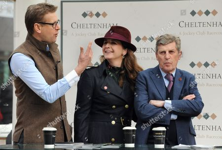 Ed Chamberlain (left) with Alice Plunkett - former eventer and National Hunt jockey and current presenter on ITV Racing with ITV team member Scott Brough