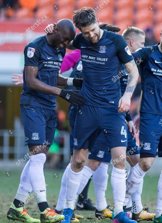 MARC-ANTOINE FORTUNE CELEBRATES HIS GOAL FOR SOUTHEND UNITED FC AGAINST BLACKPOOL