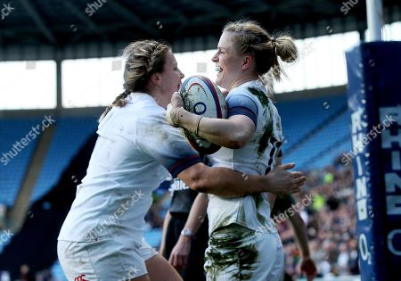 England Women vs Ireland Women. England's Danielle Waterman celebrates scoring a try with Marlie Packer