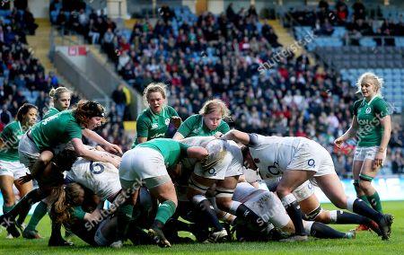 Stock Photo of England Women vs Ireland Women. England's Amy Cokayne scores a try