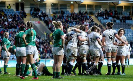 England Women vs Ireland Women. England's Amy Cokayne celebrates scoring a try with teammates