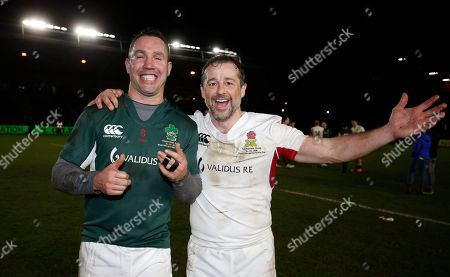 England Legends XV vs Ireland Legends XV. Ireland's Paddy Wallace and Andy Gomarsall of England after the game