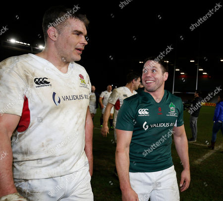 England Legends XV vs Ireland Legends XV. England's Nick Easter and Isaac Boss of Ireland after the game