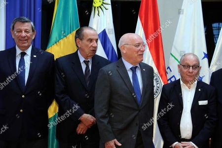 Uruguayan Foreign Minister Rodolfo Nin Novoa (L), Brazilian FM Aloysio Nunes Ferreira (2-L), Paraguayan FM Eladio Loizaga and Argentinian Jorge Faurie (R) pose for photographers after a meeting  with Paraguayan President Horacio Cartes and Foreign Ministers of Mercosur, at the Foreign Ministry facilities in Asuncion, Paraguay, 16 March 2018. Foreign Ministers of countries which are a part of Mercosur met President Cartes during a visit before their summit where they are going to discuss a free trade agreement negotiations with the European Union.