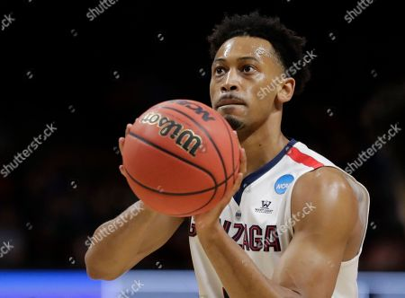 Gonzaga forward Johnathan Williams shoots a free-throw against UNC-Greensboro during an NCAA men's college basketball tournament first-round game, in Boise, Idaho