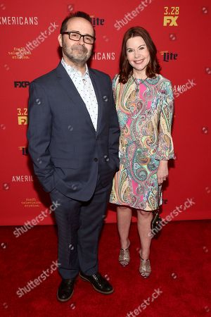 """Stock Photo of Todd Faulkner, Nicole Greevy. Todd Faulkner, left, and Nicole Greevy, right, attend the premiere of FX Networks' """"The Americans"""" final season at Alice Tully Hall, in New York"""