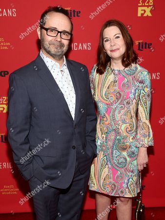 """Todd Faulkner, Nicole Greevy. Todd Faulkner, left, and Nicole Greevy, right, attend the premiere of FX Networks' """"The Americans"""" final season at Alice Tully Hall, in New York"""