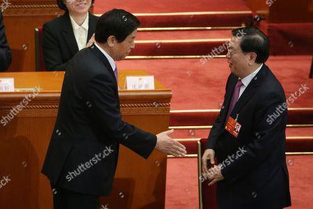 Stock Photo of Zhang Dejiang and Li Zhanshu