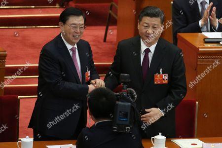 Stock Image of Xi Jinping and Zhang Dejiang